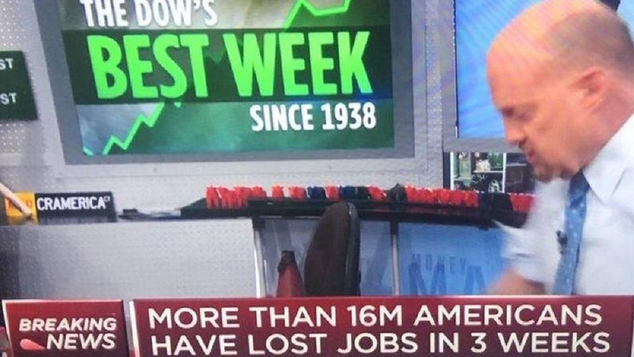 A bald man paces in front of a screen announcing the Dow's best week since 1938. The lower third of the screen shows text indicating that more than 16 million Americans have lost jobs in the past 3 weeks.